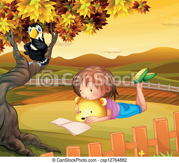 A girl studying outside - csp12764882