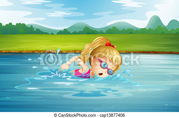 Illustration Of A Girl Swimming At The River Vector