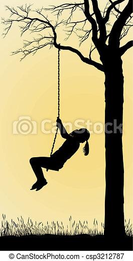 A Girl Swings On A Tree - csp3212787