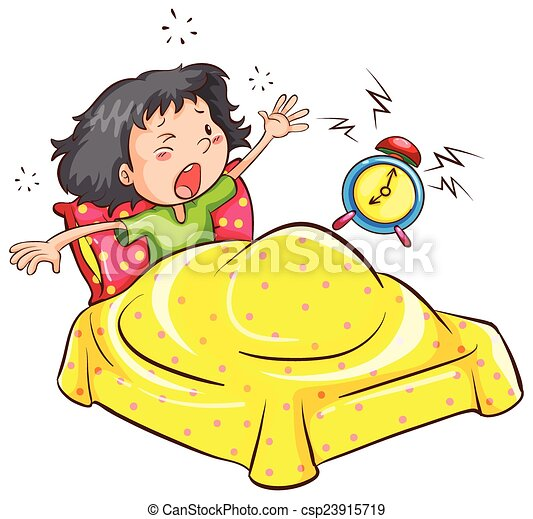 Girl Waking Up Clipart