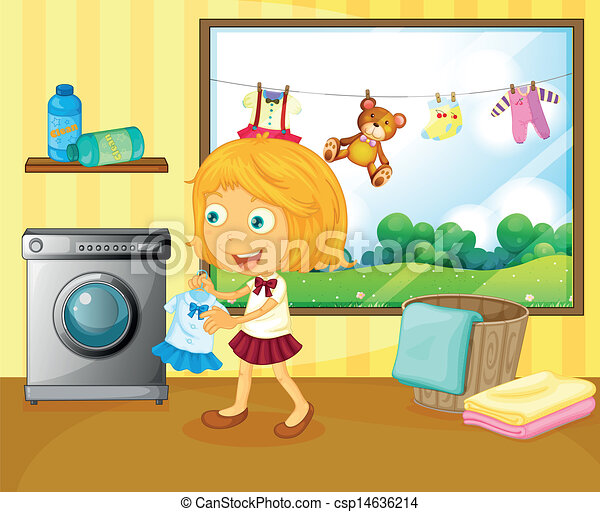 A girl washing her clothes - csp14636214
