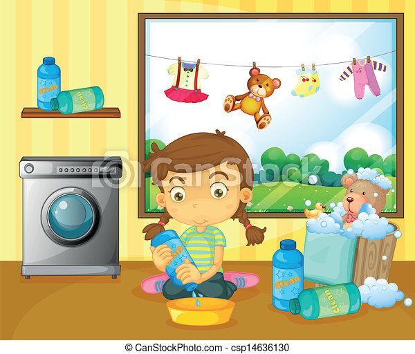 A girl washing her stuffed toys - csp14636130