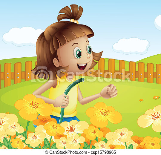a girl watering the plants in the garden csp15798965 - The Girls In The Garden