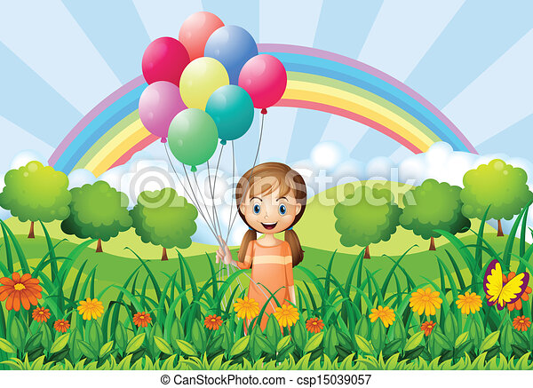 A girl with balloons - csp15039057