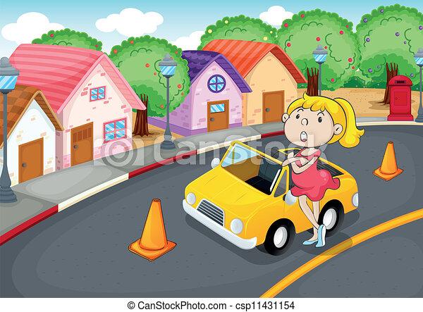 a girl with car - csp11431154