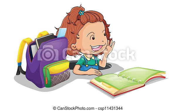 a girl with school bag - csp11431344