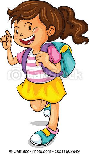 a girl with school bag - csp11662949