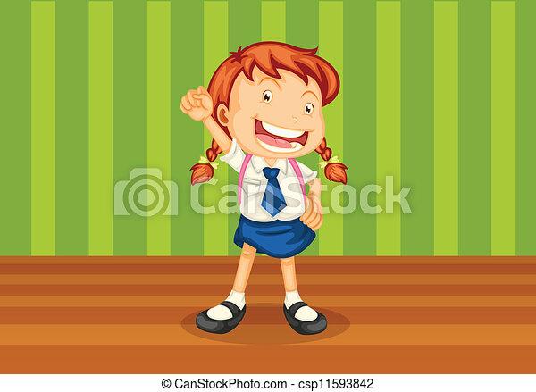 a girl with schoolbag - csp11593842