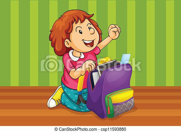 a girl with schoolbag - csp11593880