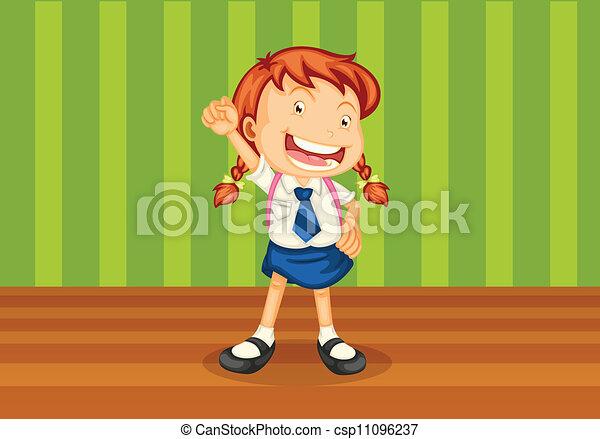 a girl with schoolbag - csp11096237