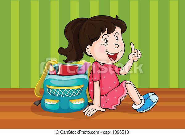 a girl with schoolbag - csp11096510