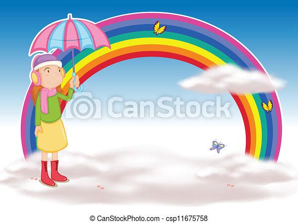 a girl with umbrella - csp11675758