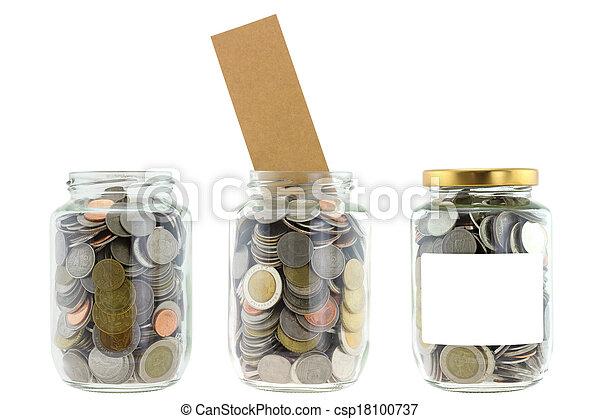 A glass jar with saving money - csp18100737