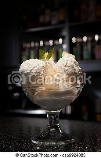 a glass of ice-cream - csp9924083