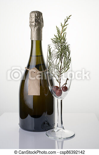 A glass with a coniferous branch and a bottle of champagne on a light background. - csp86392142