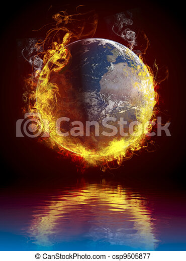 A global warming concept. Planet Earth burning over water reflection - csp9505877