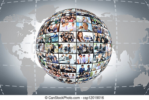 A globe is isolated on a white background with many different business people - csp12019016