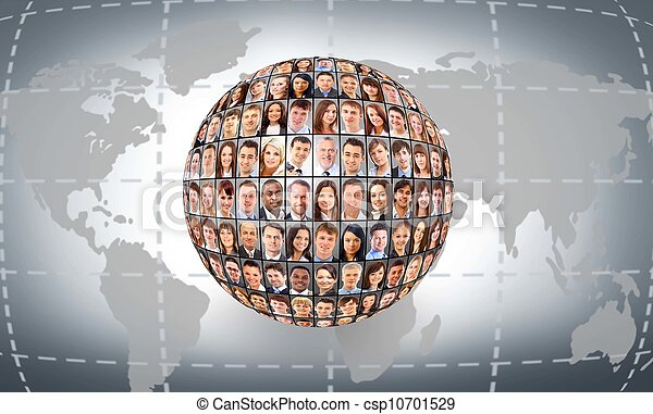 A globe is isolated on a white background with many different business people's faces - csp10701529
