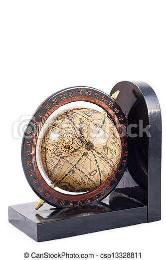 A globe on a bookend isolated - csp13328811