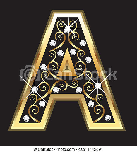 A gold letter with swirly ornaments - csp11442891