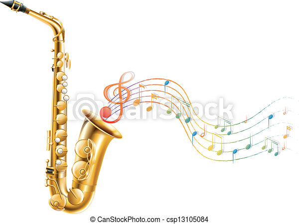 A golden saxophone with musical notes - csp13105084