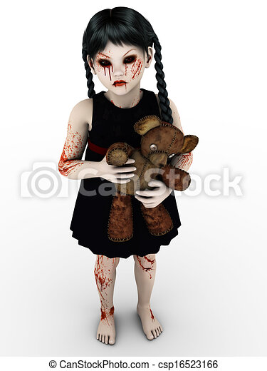 A gothic blood covered small girl. - csp16523166