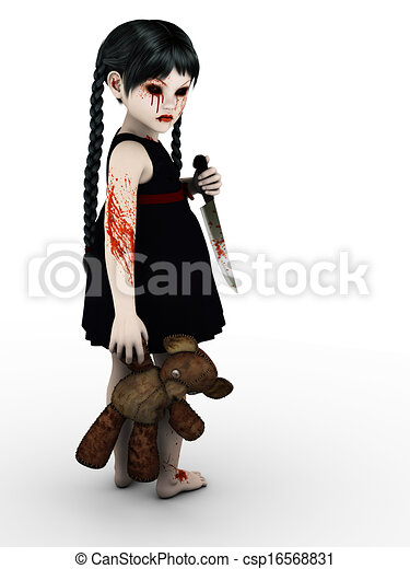 A gothic blood covered small girl with knife. - csp16568831