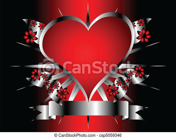 A Gothic Silver And Red Floral Hearts Design
