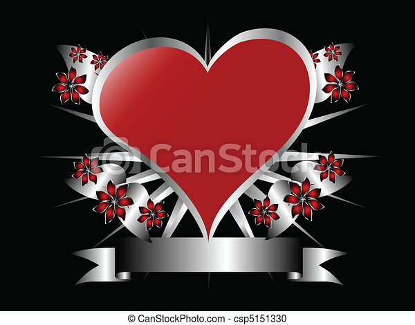 A Gothic Silver And Red Floral Hearts Design With Room For Text On Black Background