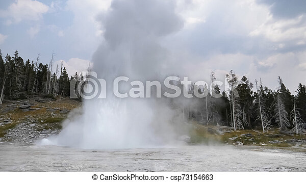 a grand geyser eruption in yellowstone national park - csp73154663