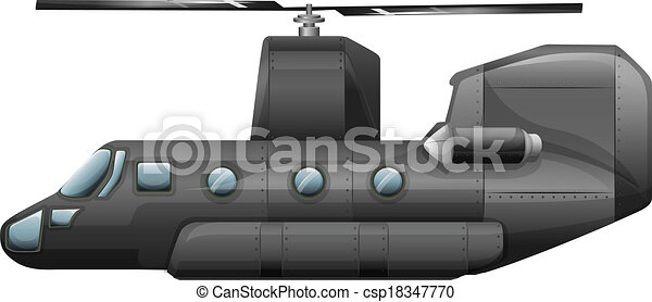 A gray helicopter - csp18347770
