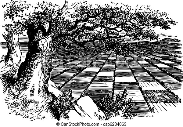 A Great Huge Game of Chess - Through the Looking Glass and what Alice Found There original book engraving - csp6234063