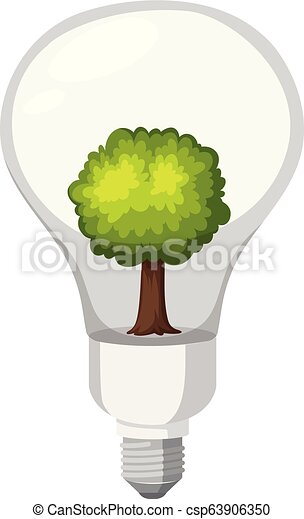 A green energy lightbulb - csp63906350