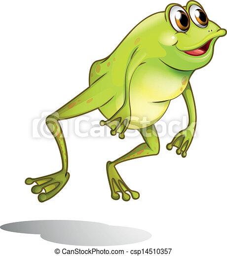 A green frog hopping - csp14510357