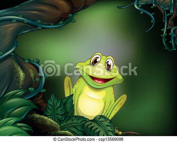 A green frog in the jungle - csp13569098