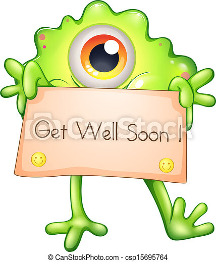 illustration of a sick yellow monster holding a clip art vector rh canstockphoto com get well soon cards clipart get well soon clipart