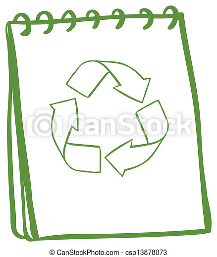 A green notebook with the symbols for recycling - csp13878073