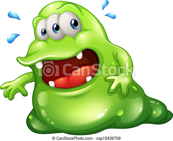 A greenslime monster escaping - csp15439709