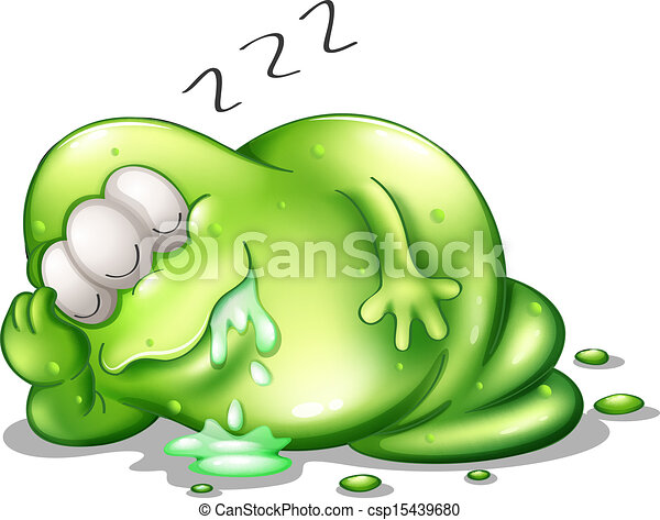 A greenslime monster sleeping - csp15439680