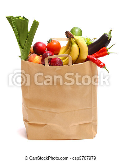 A grocery bag full of healthy fruits and vegetables - csp3707979