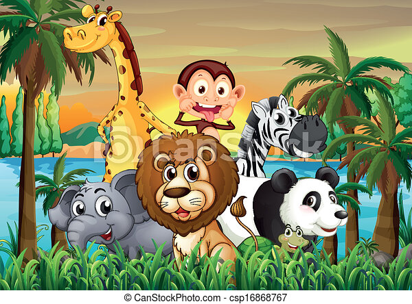 A group of animals at the riverbank with coconut trees - csp16868767