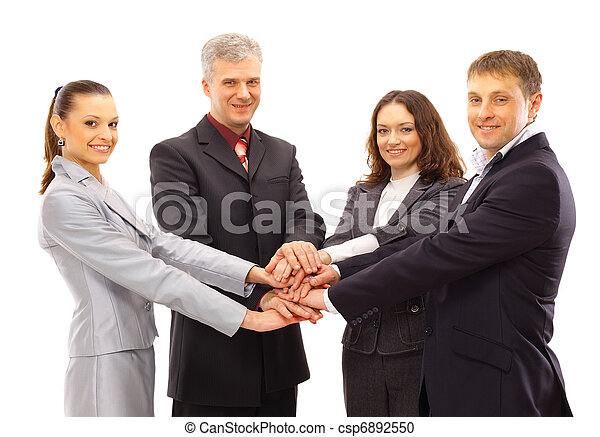 A group of business people shanking hands - csp6892550