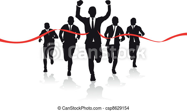 a group of business runners - csp8629154