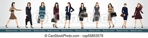 A group of business women in elegant business suits - csp55853579