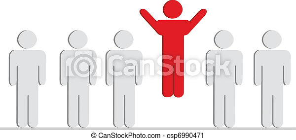 A group of characters standing in line only with one jumping up - csp6990471