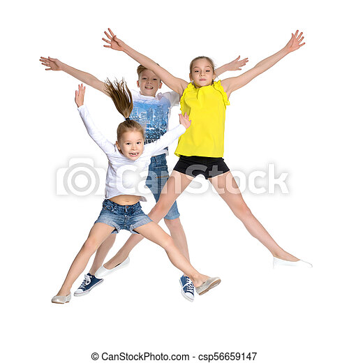 A group of children jumping and waving. - csp56659147