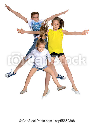 A group of children jumping and waving. - csp55682398