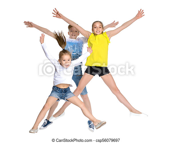 A group of children jumping and waving. - csp56079697