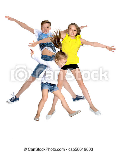 A group of children jumping and waving. - csp56619603