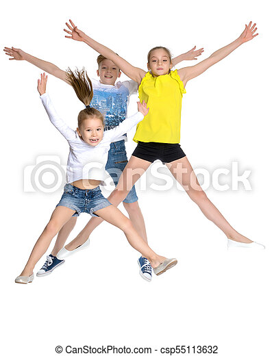 A group of children jumping and waving. - csp55113632